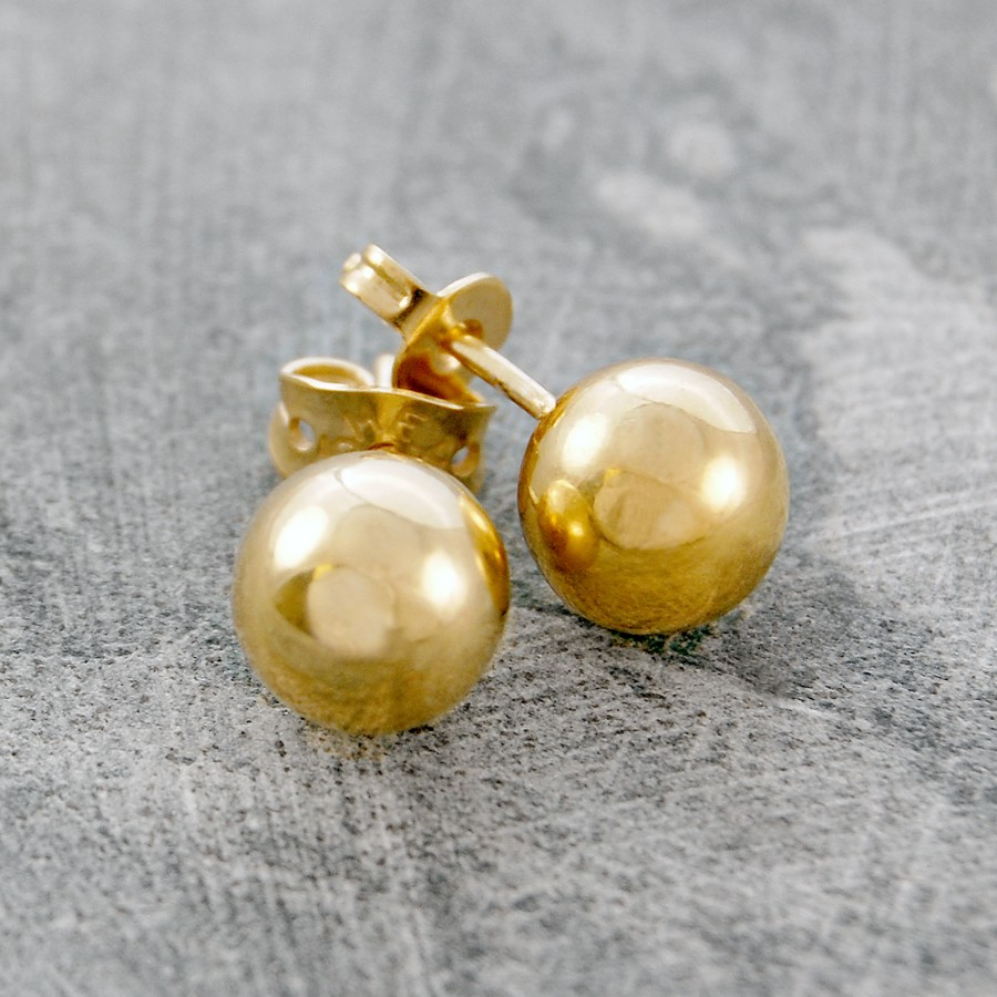 18ct yellow gold vermeil large ball stud earrings reppin