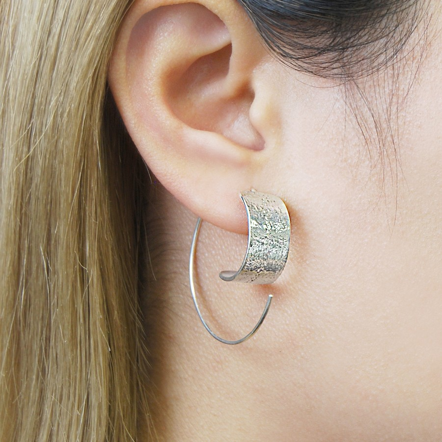 Textured Hoop Earrings In Sterling Silver