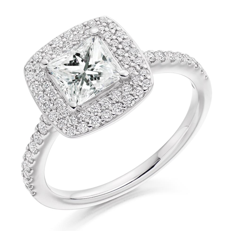 Micro Claw Set 1 20ct Princess Cut Diamond Halo Ring