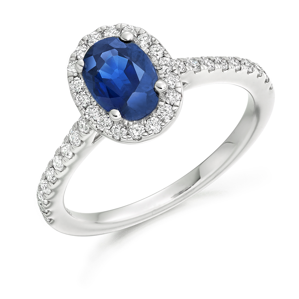 Halo Set 1.85ct Oval Cut Blue Sapphire & Diamond Ring ...